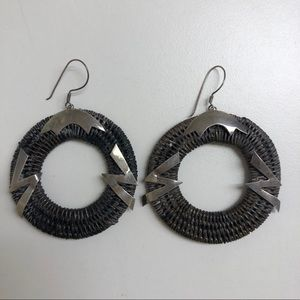 """90s Sterling silver and wood 2"""" round earrings"""